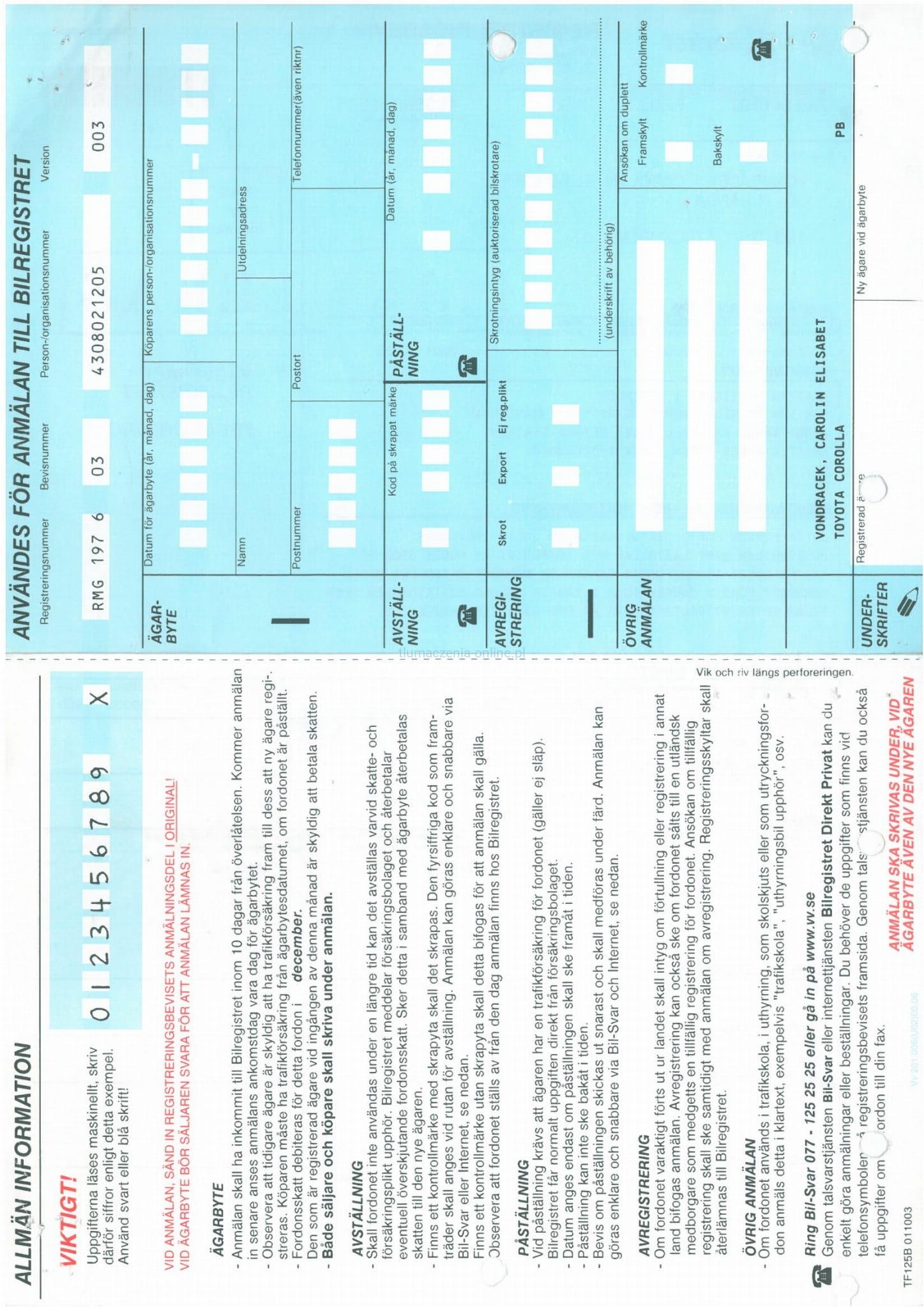 Koszt Tlumaczenia Dowodu Rejestracyjnego